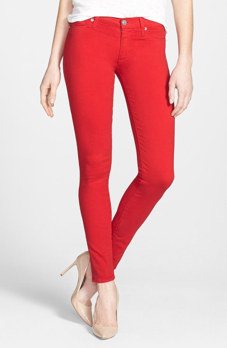 HUDSON JEANS Mid Rise Skinny Jeans, Main, color, RED