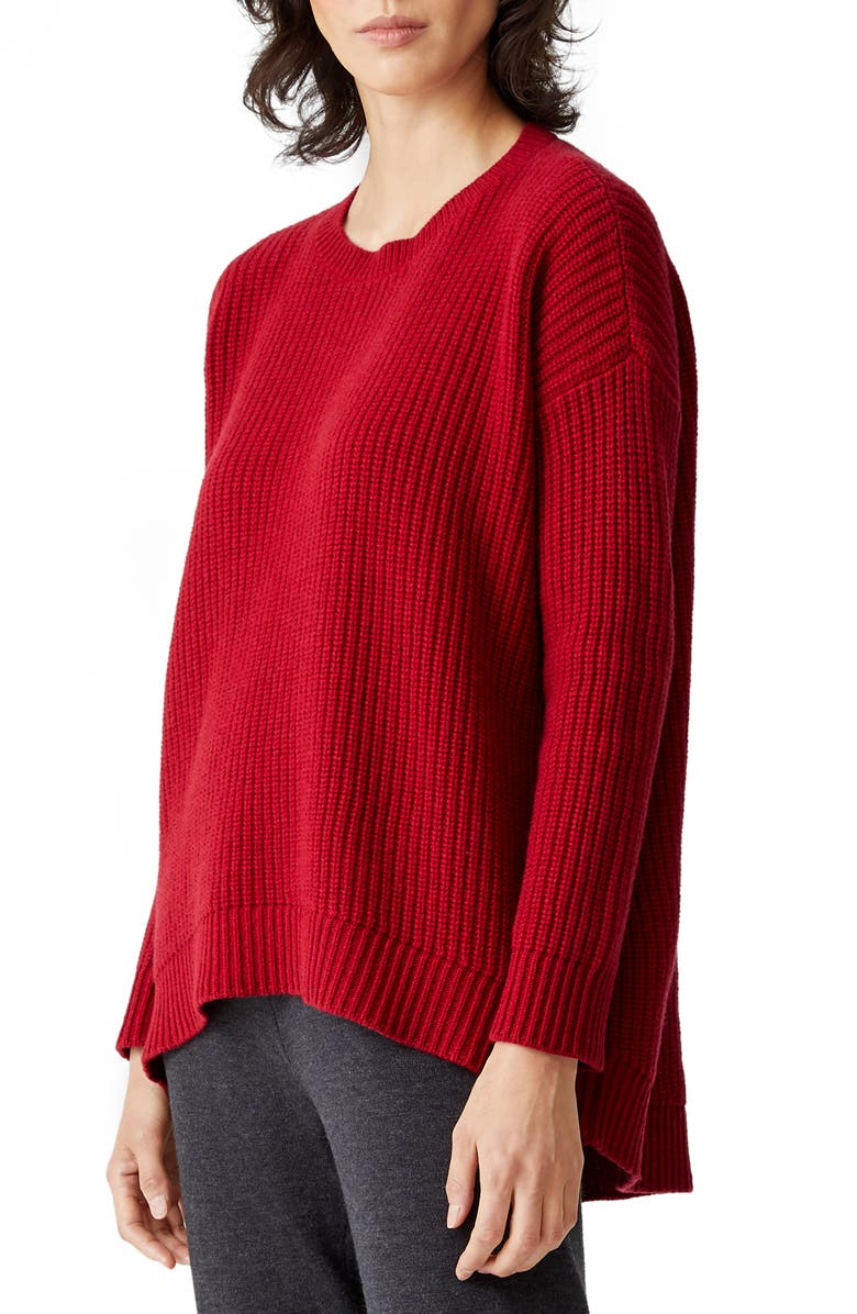 EILEEN FISHER High/Low Recycled Cashmere & Wool Sweater, Main, color, RUBY
