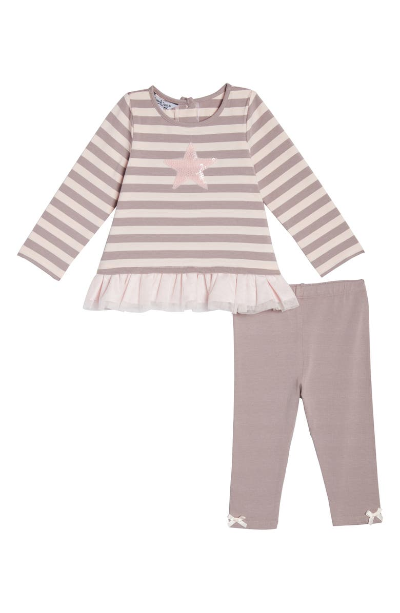 PIPPA & JULIE Sequin Star Stripe Tunic & Leggings Set, Main, color, 653