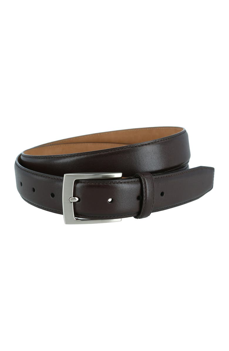 PHENIX Stitched Feathered Edge Leather Belt, Main, color, BROWN-200
