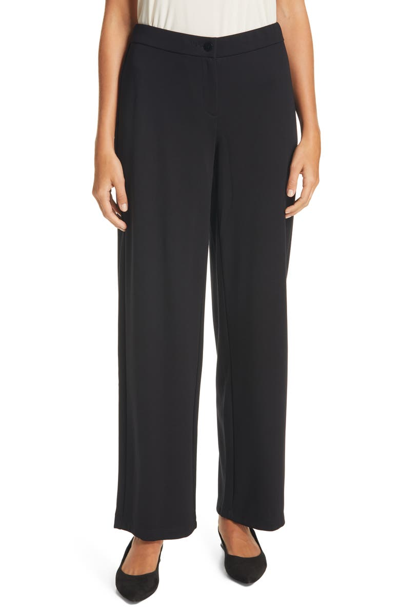 EILEEN FISHER Straight Leg Ankle Pants, Main, color, BLACK