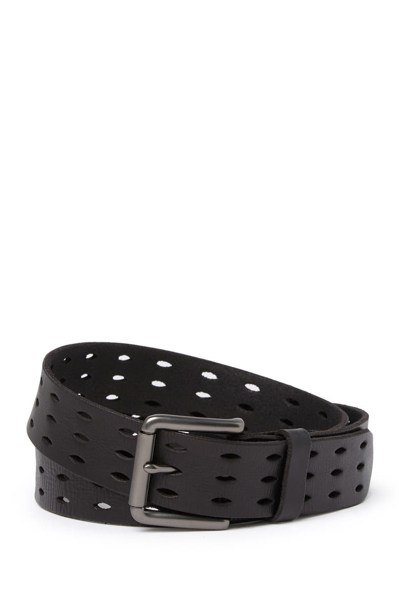 ALLSAINTS 38mm Flat Strap w/ Perforated Detailing, Main, color, BLACK