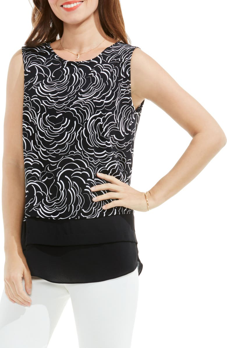 VINCE CAMUTO Graphic Ribbons Mixed Media Top, Main, color, RICH BLACK