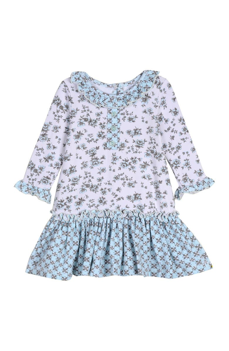 PIPPA AND JULIE Floral Ruffle Dress, Main, color, BLU/CR