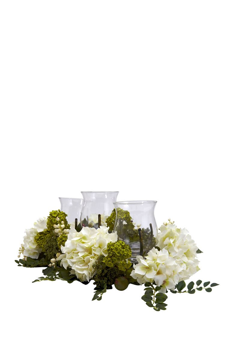 NEARLY NATURAL Snowball Hydrangea Triple Candelabrum, Main, color, WHITE