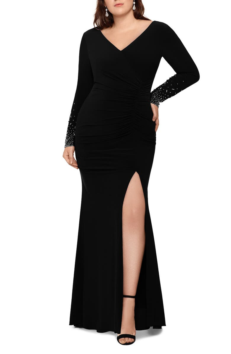 XSCAPE Embellished Long Sleeve Ruched Gown, Main, color, 001