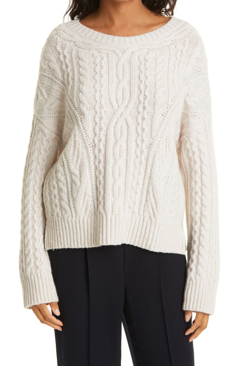 VINCE Cable Wool Blend Crewneck Sweater, Main, color, OFF WHITE/ MARZIPAN