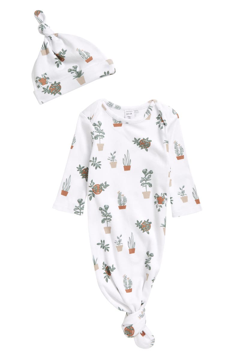 NORDSTROM Knotted Gown & Hat Set, Main, color, WHITE- GREEN PLANTS