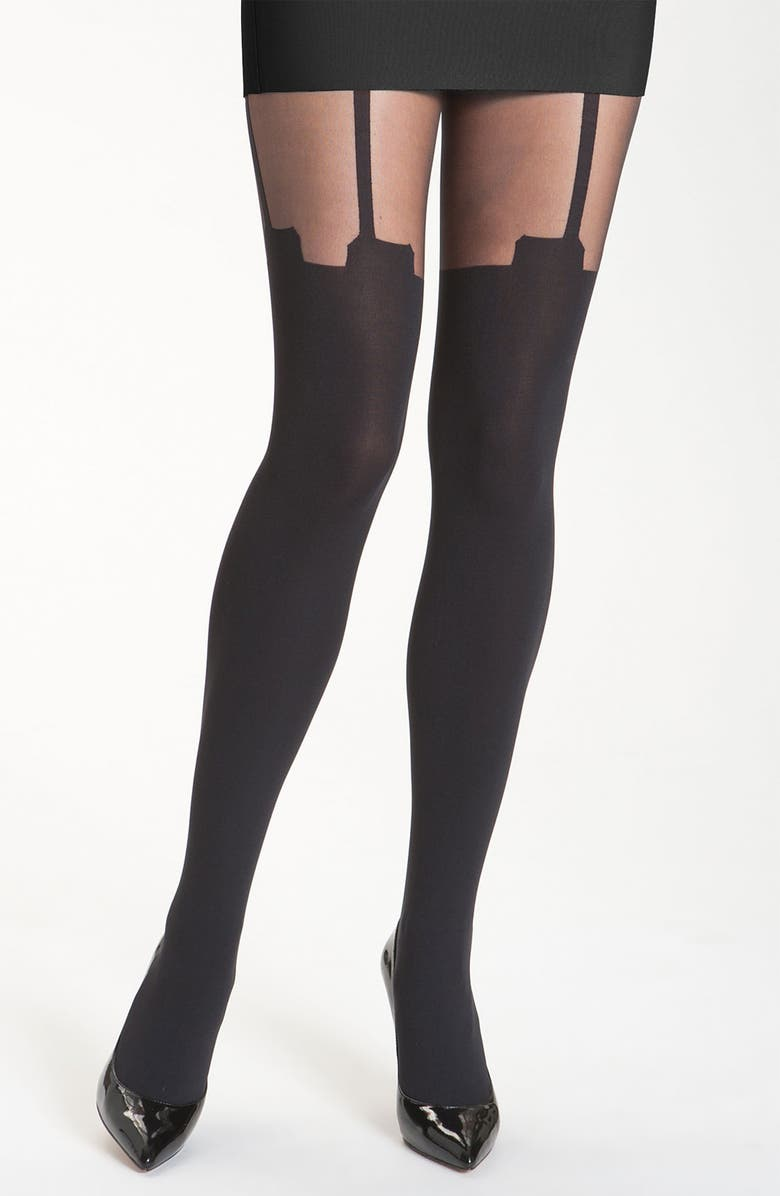 PRETTY POLLY 'House of Holland Super Suspender' Tights, Main, color, 001