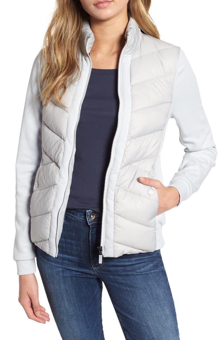 BARBOUR Hirsel Chevron Quilted Sweater Jacket, Main, color, 100