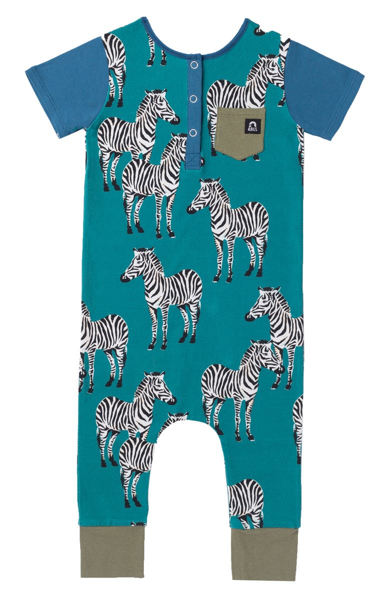 RAGS Zebra Henley Romper, Main, color, 440