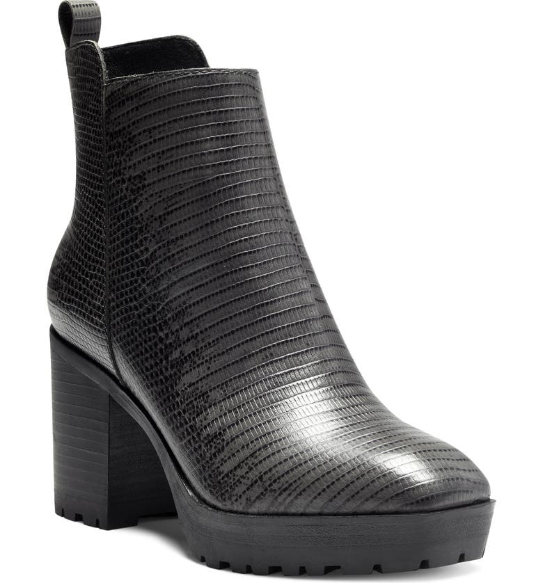 LUCKY BRAND Worrin Platform Boot, Main, color, BLACK/ CHARCOAL LEATHER