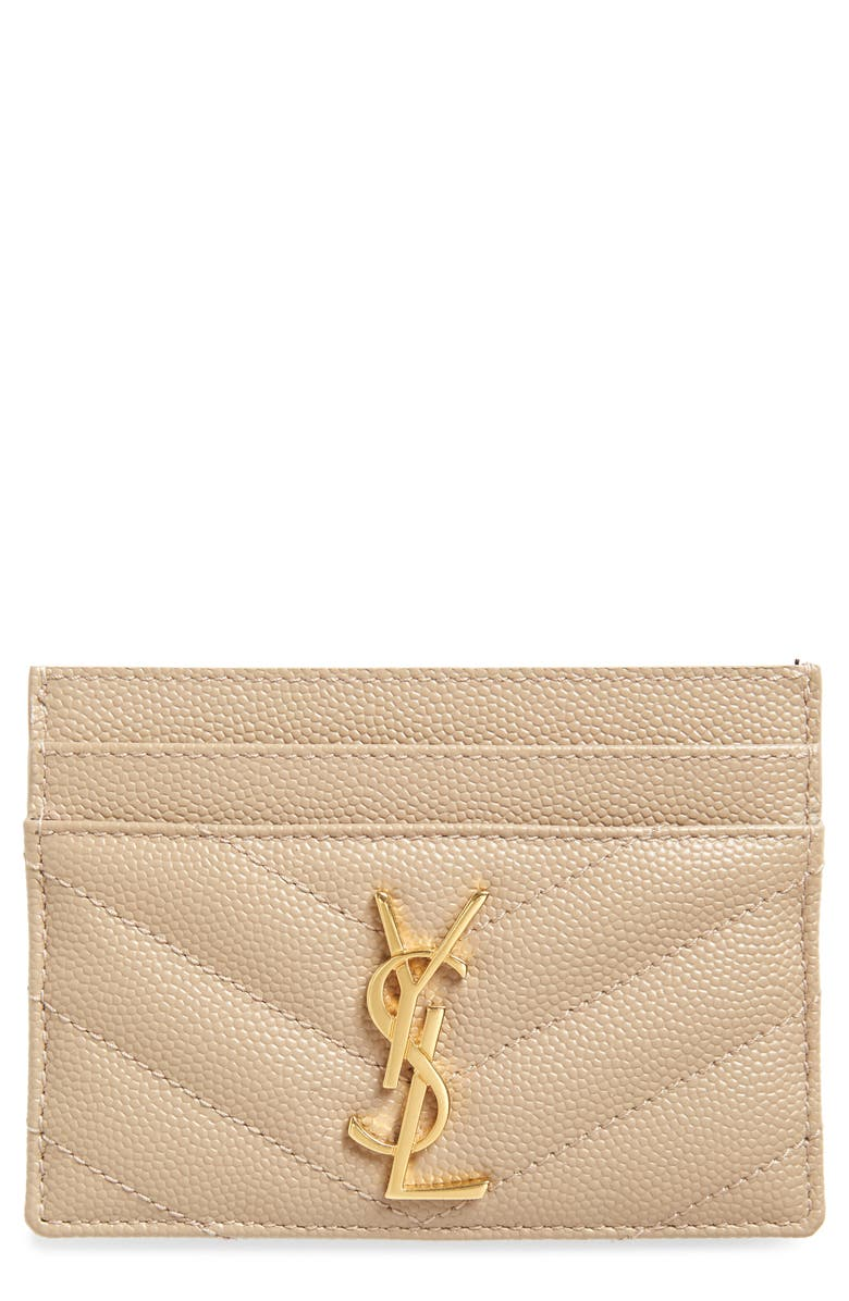 SAINT LAURENT Monogram Quilted Leather Credit Card Case, Main, color, DARK BEIGE