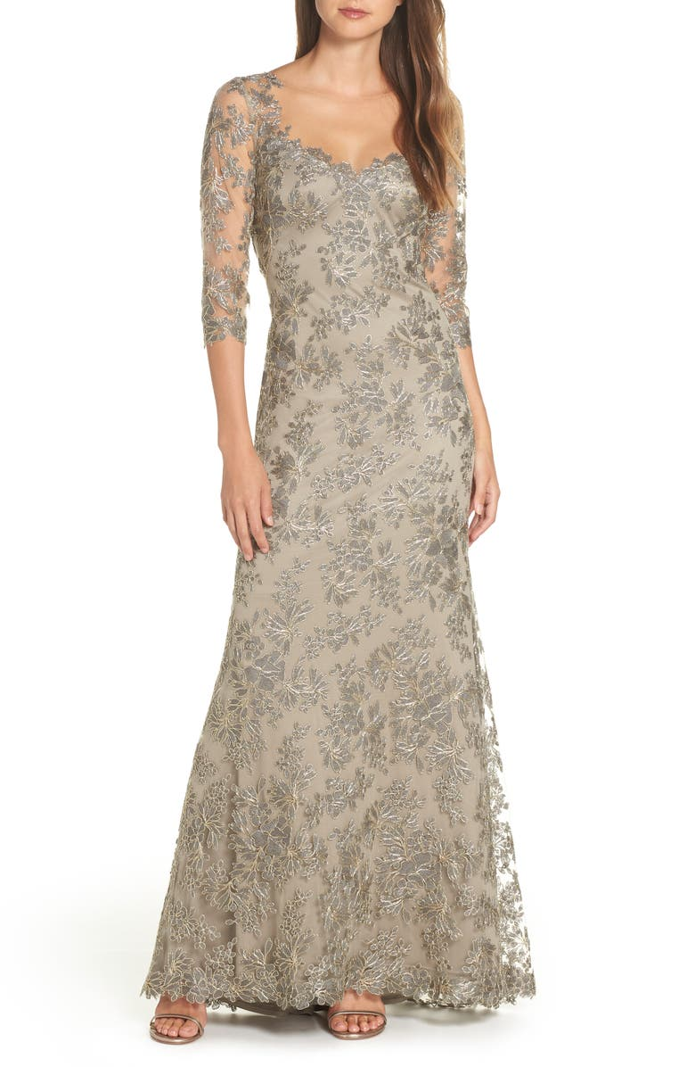 Corded Embroidered Lace Gown