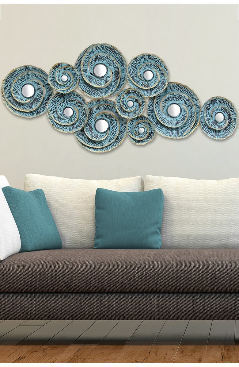 STRATTON HOME DECOR Distressed Teal Decorative Waves Metal Wall Decor, Main, color, DISTRESSED BLUE