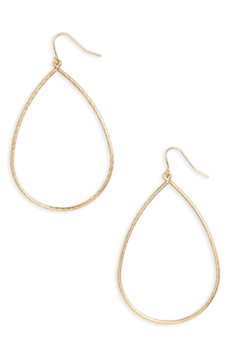 NORDSTROM Large Textured Teardrop Earrings, Main, color, GOLD