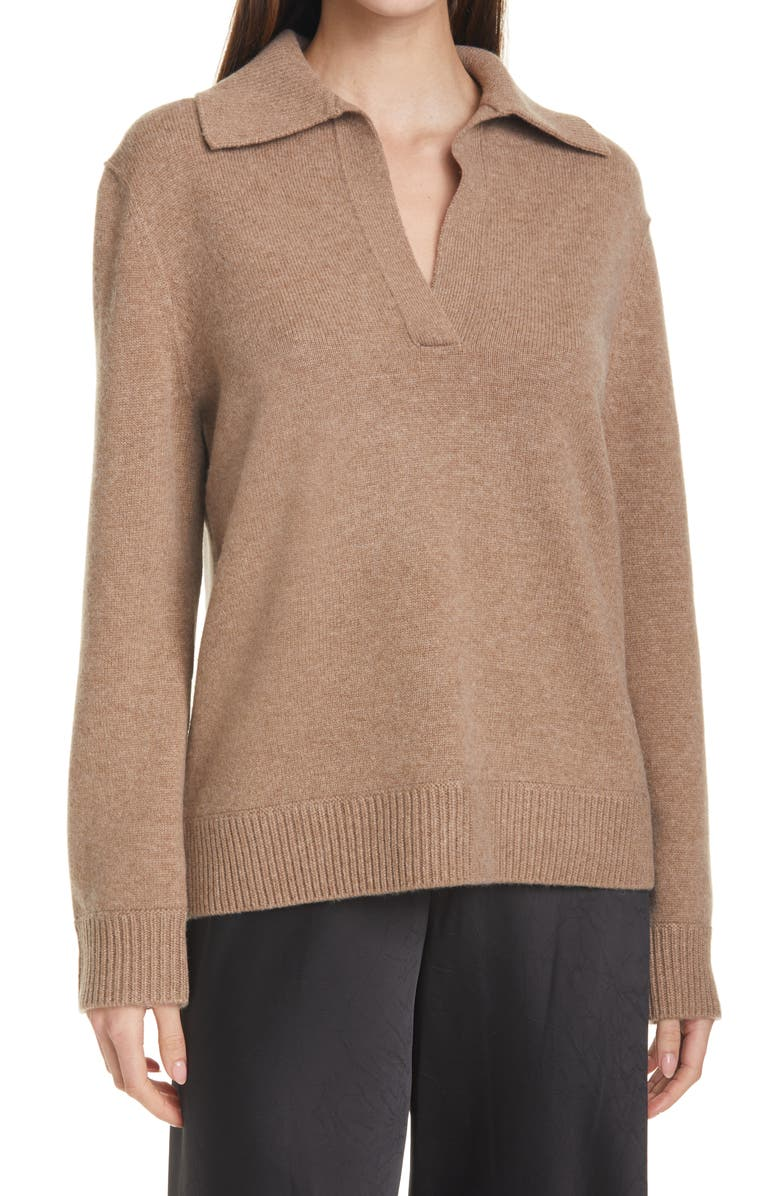 VINCE Wool & Cashmere Polo Sweater, Main, color, H CHESTNUT