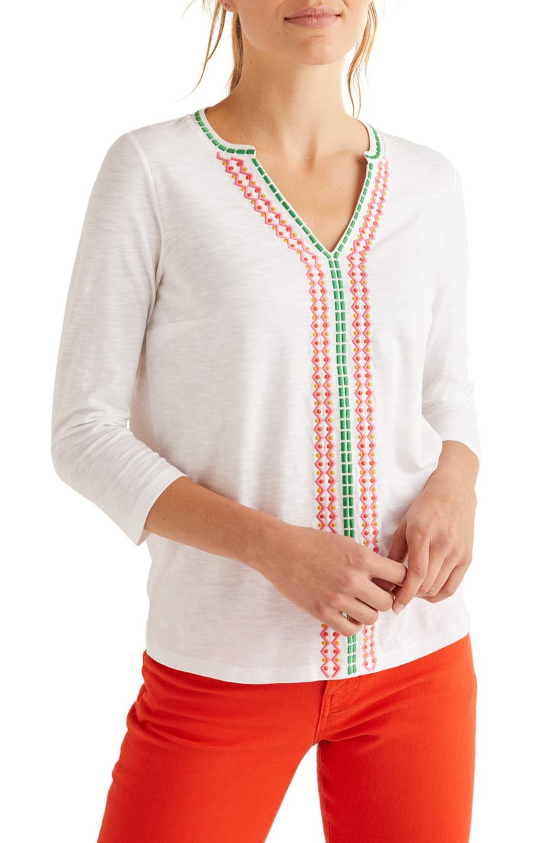 BODEN Peggy Embroidered Jersey Top, Main, color, 100