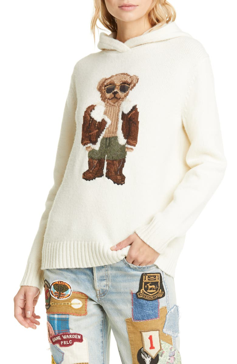 POLO RALPH LAUREN Aviator Bear Hooded Wool Sweater, Main, color, 900