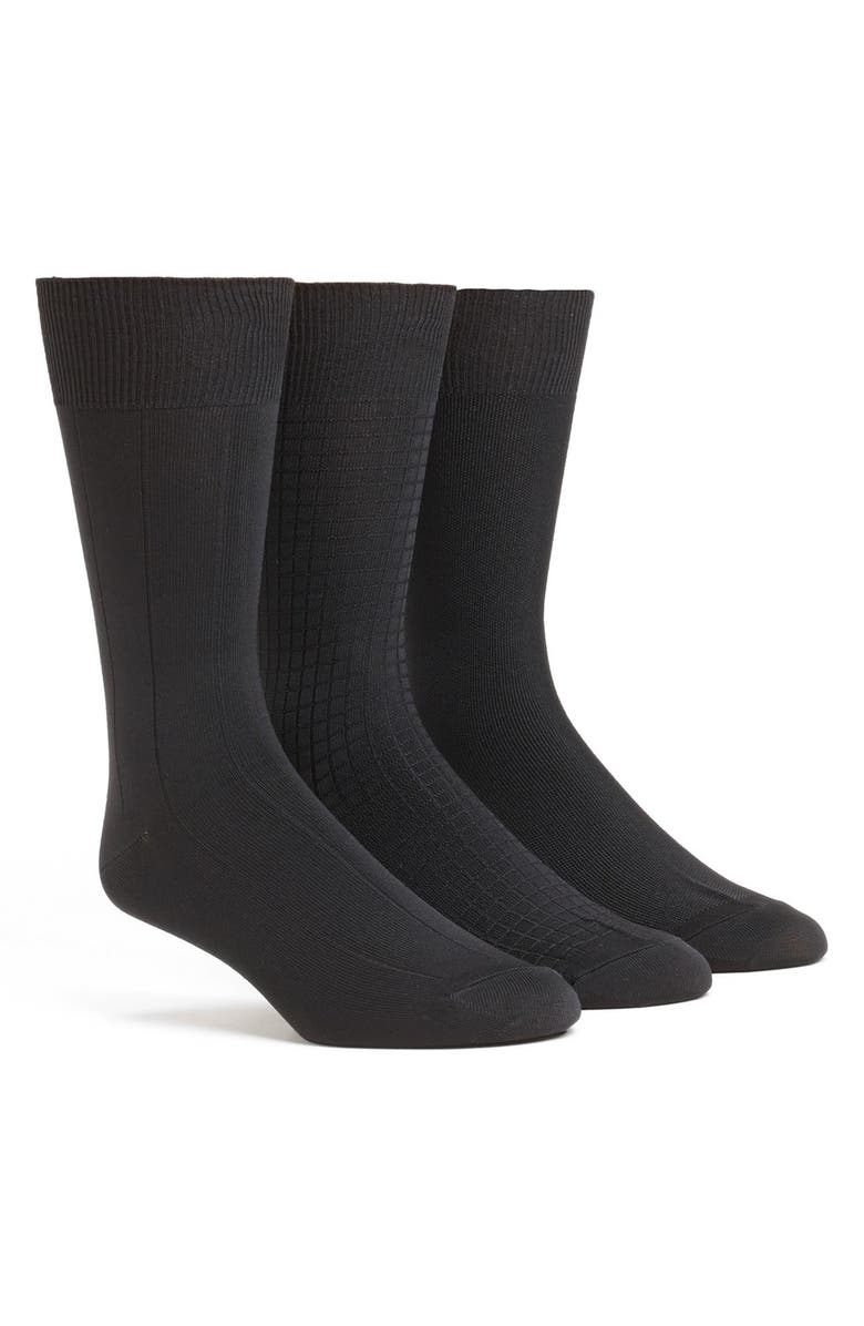 CALVIN KLEIN 3-Pack Microfiber Socks, Main, color, BLACK
