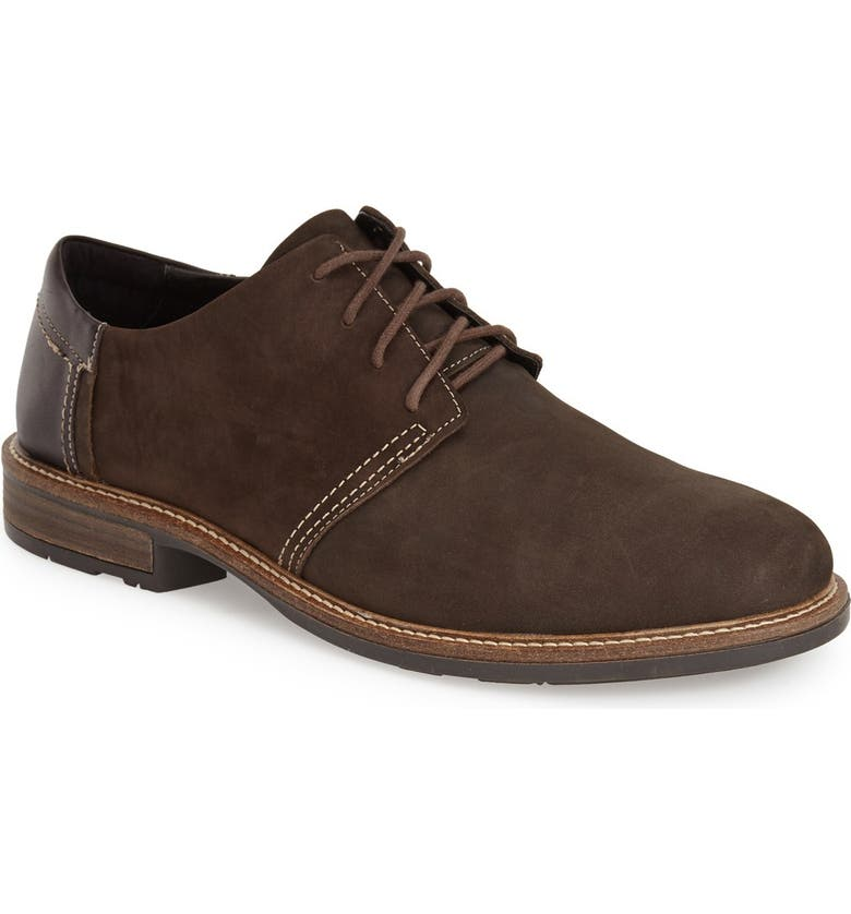 NAOT Plain Toe Derby, Main, color, OILY BROWN/ FRENCH ROAST