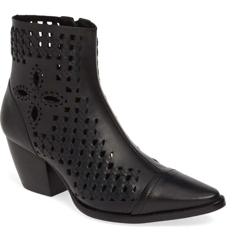 MATISSE Bello Woven Pointy Toe Bootie, Main, color, Black