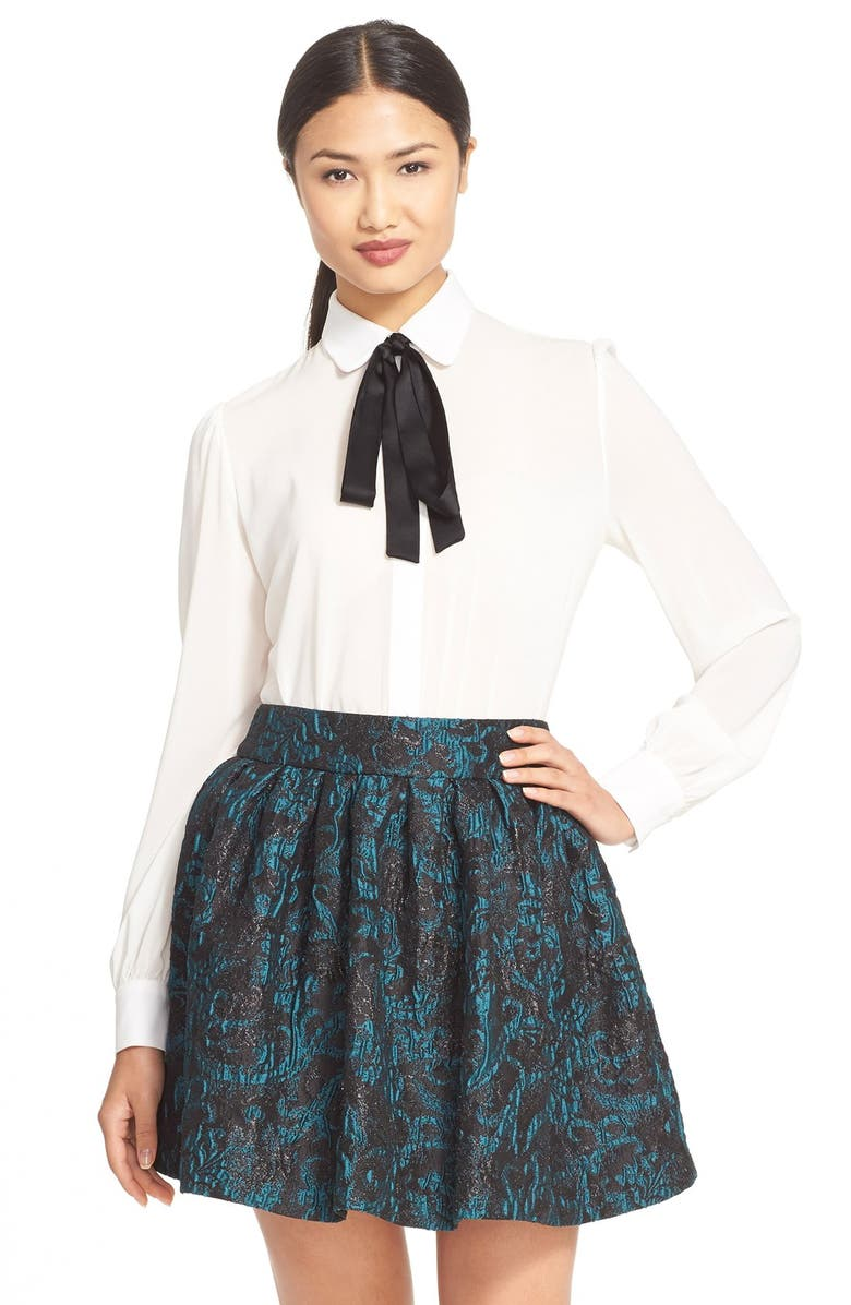 ALICE + OLIVIA 'Janis' Stretch Silk Blouse, Main, color, 110