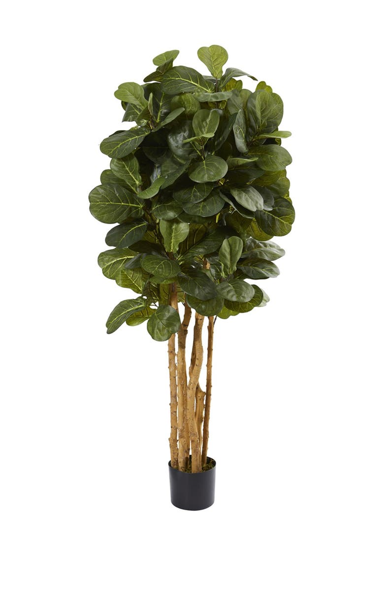 NEARLY NATURAL Green 5ft. Fiddle Leaf Fig Artificial Tree, Main, color, GREEN