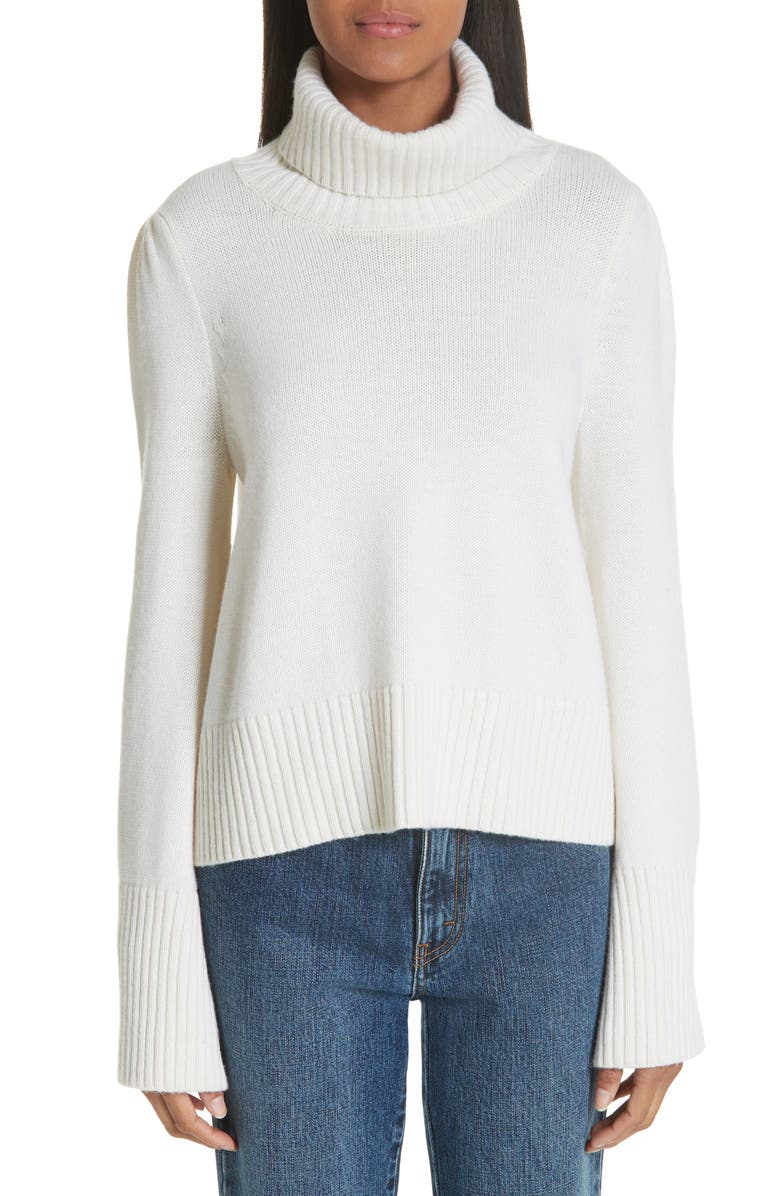 CO Essentials Flare Sleeve Wool & Cashmere Turtleneck Sweater, Main, color, 900