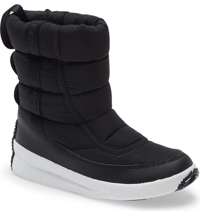 SOREL Out 'N About Puffy Waterproof Snow Boot, Main, color, BLACK