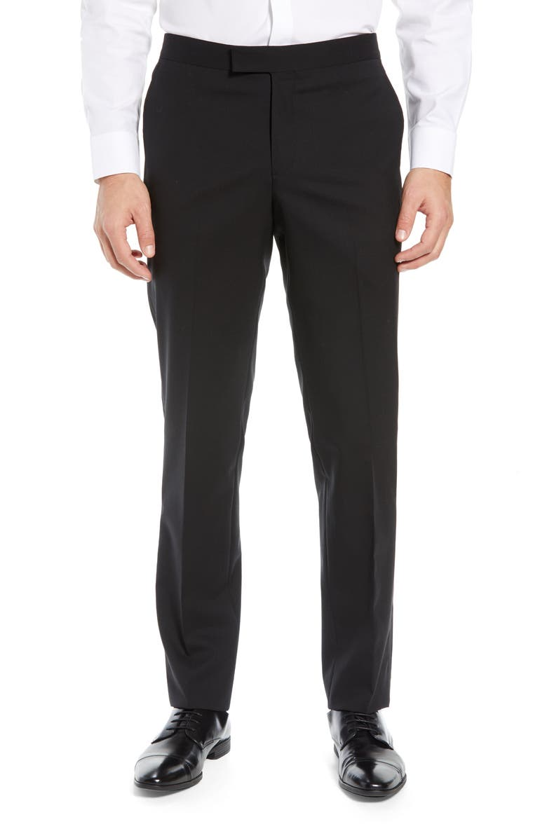 NORDSTROM Slim Fit Stretch Wool Tuxedo Dress Pants, Main, color, Black