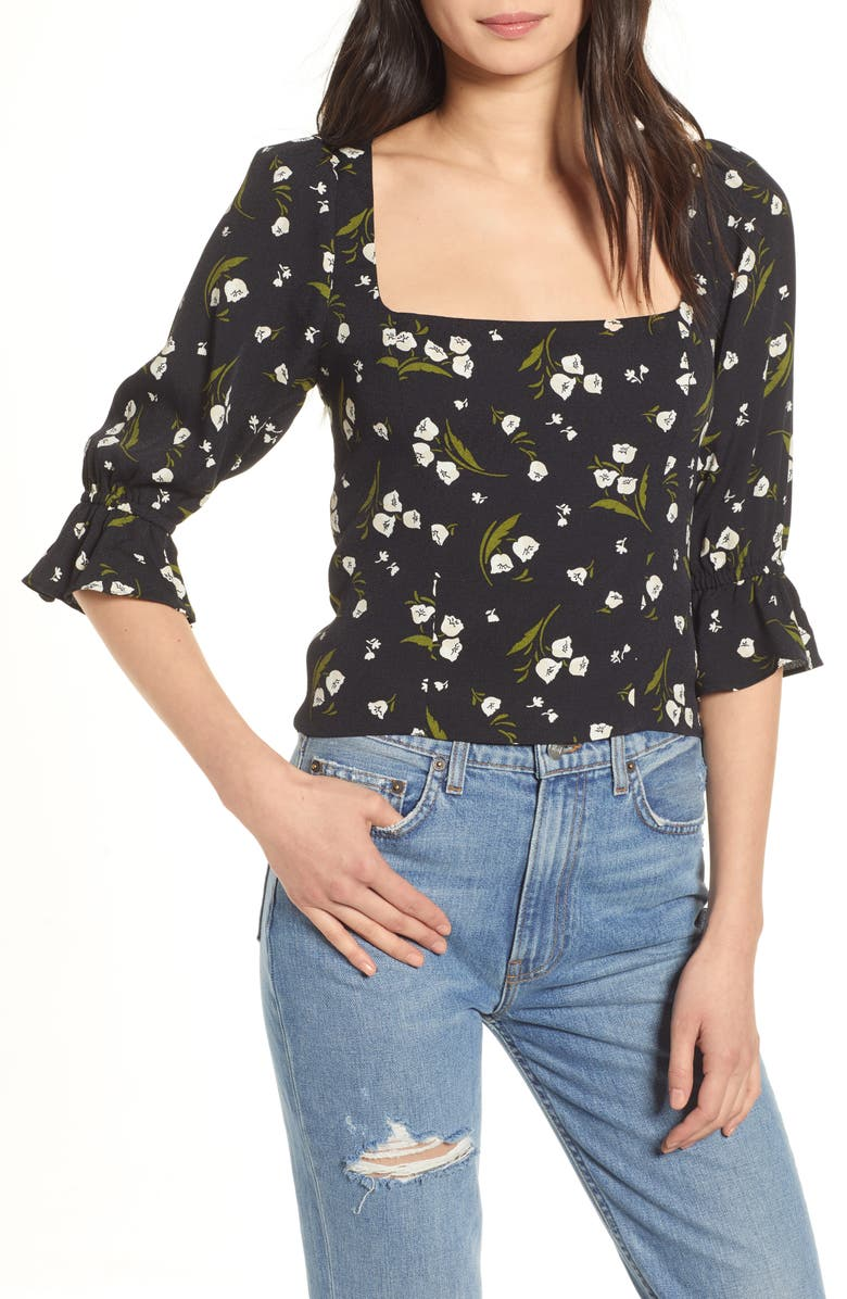 REFORMATION Ana Floral Square Neck Top, Main, color, GIADA