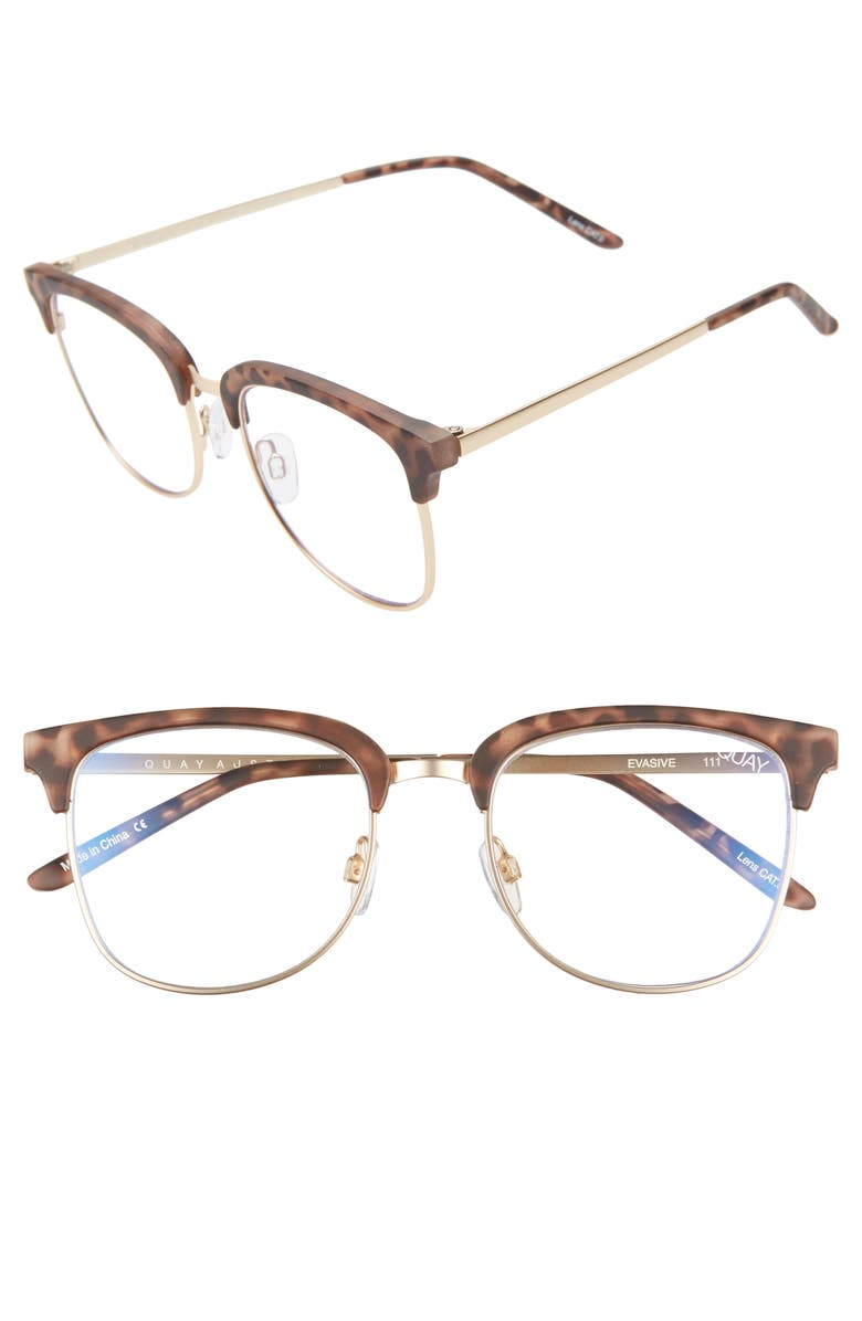 QUAY AUSTRALIA Evasive 55mm Blue Light Filtering Glasses, Main, color, TORTOISE/ GOLD