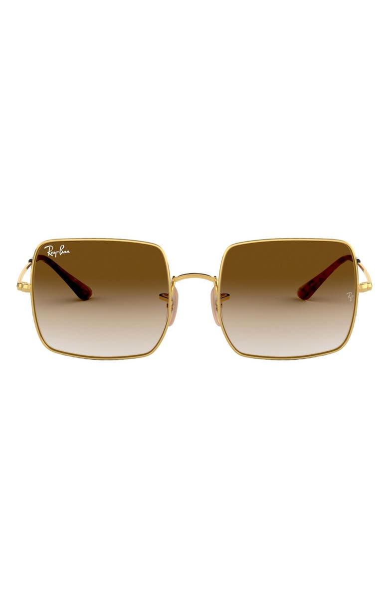 RAY-BAN 54mm Square Sunglasses, Main, color, GOLD / BROWN GRADIENT