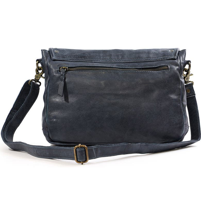 OLD TREND Lone Road Leather Messenger, Main, color, navy