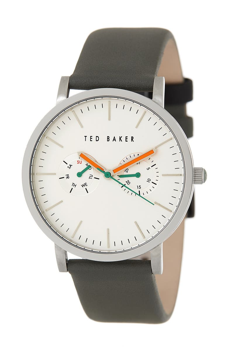 TED BAKER LONDON Multifunction Leather Strap Watch, 40mm, Main, color, 000