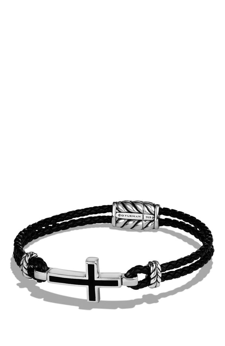 DAVID YURMAN 'Exotic Stone' Cross Station Leather Bracelet with Black Onyx, Main, color, SILVER/ BLACK ONYX
