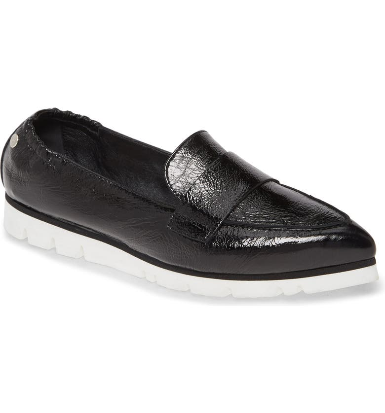 AGL Micro Pointed Toe Loafer, Main, color, BLACK GLAMMY
