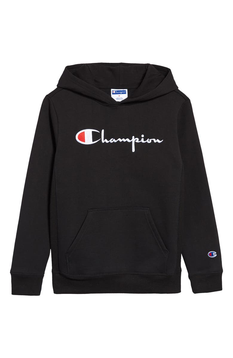 CHAMPION Kids' Embroidered Premium Fleece Hoodie, Main, color, BLACK