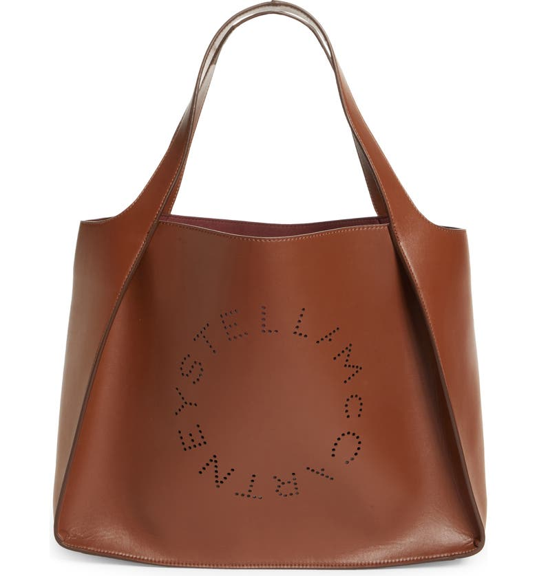 STELLA MCCARTNEY Perforated Logo Faux Leather Tote, Main, color, 7773 CINNAMON