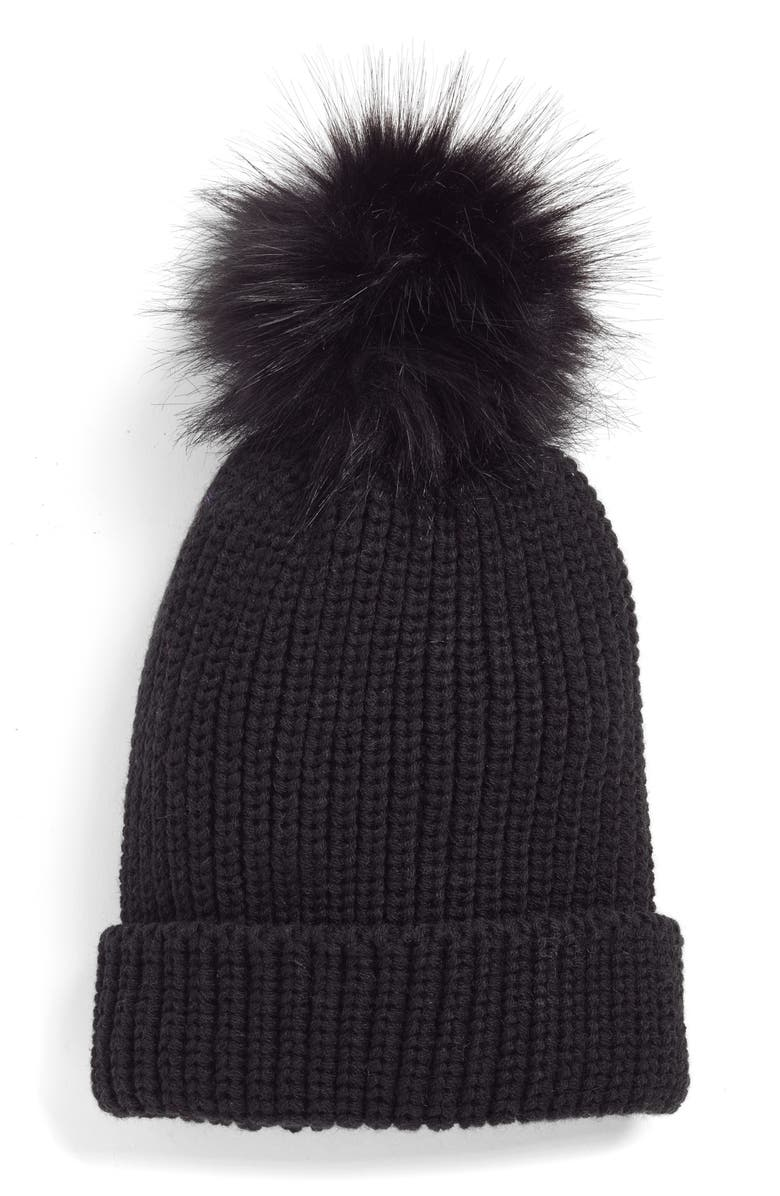 TREASURE & BOND Chunky Stitch Beanie with Faux Fur Pom, Main, color, 001