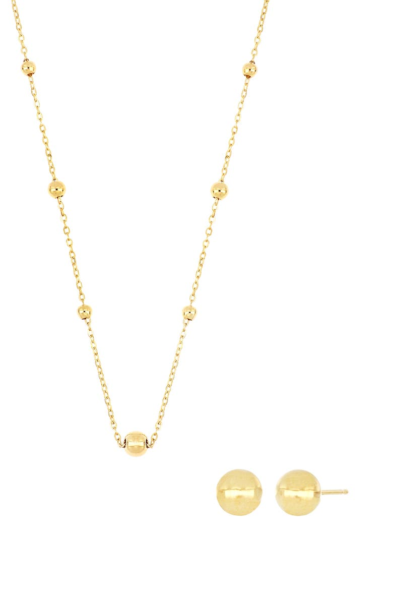 BONY LEVY 14K Gold Stud Earrings & Beaded Necklace Box Set, Main, color, YELLOW GOLD