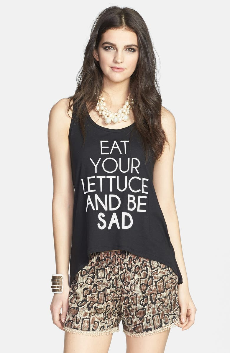 MADISON & BERKELEY 'Eat Your Lettuce and Be Sad' High/Low Tank, Main, color, Black