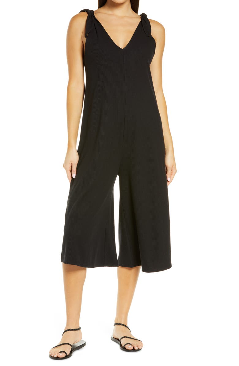 CHELSEA28 Rib Cover Up Jumpsuit, Main, color, BLACK