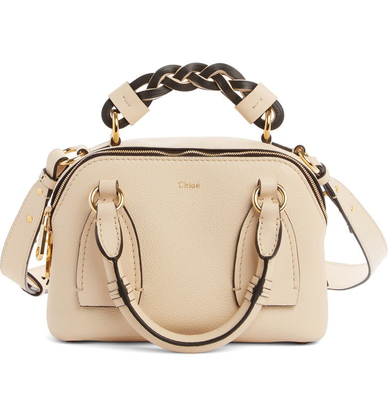 CHLOÉ Small Daria Leather Day Bag, Main, color, SWEET BEIGE