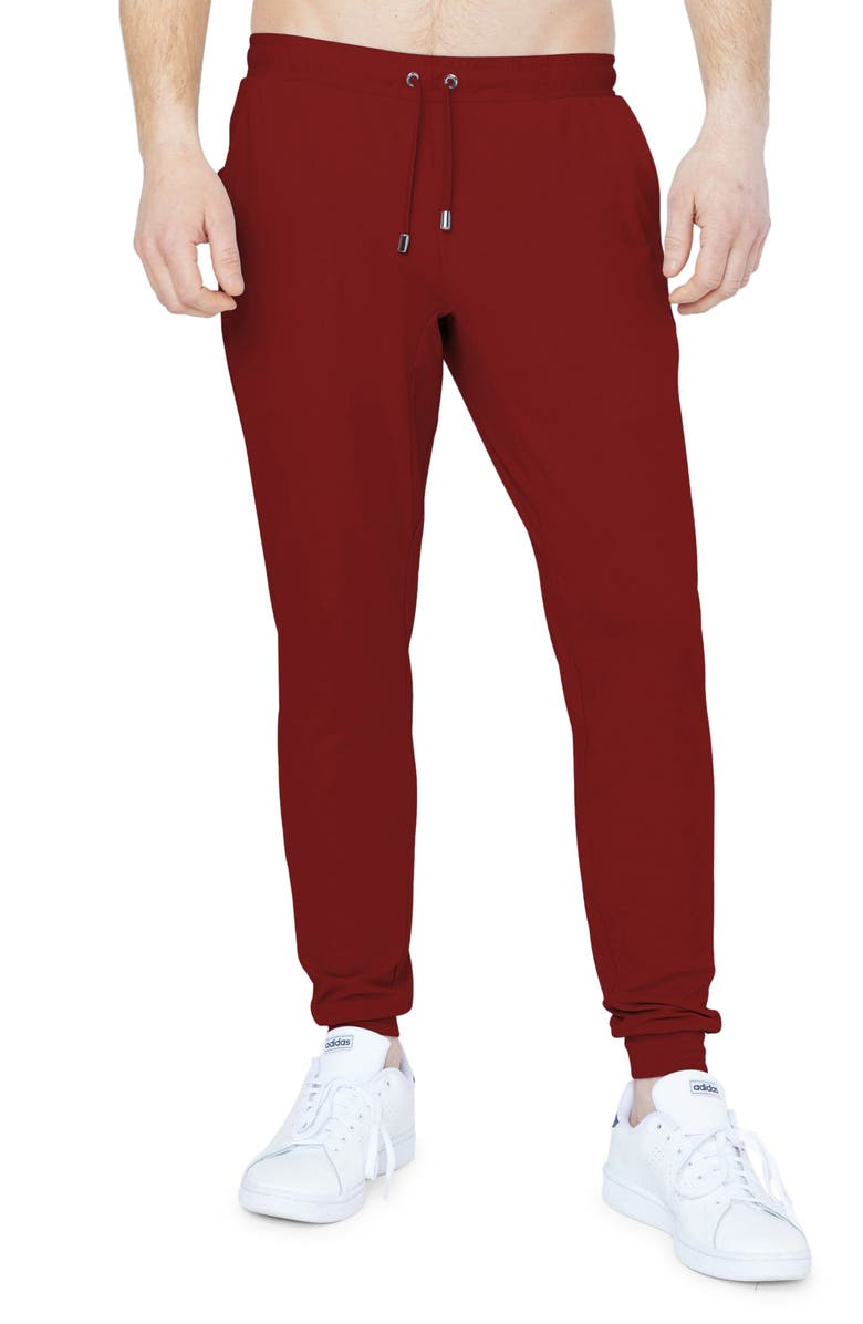 REDVANLY Donahue Water Resistant Joggers, Main, color, POMEGRANATE