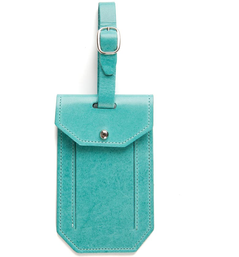MOORE & GILES Leather Luggage Tag, Main, color, OCEAN