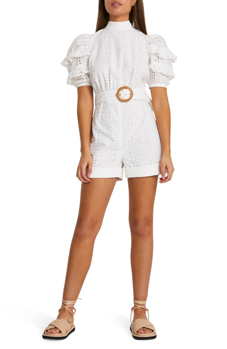 RIVER ISLAND Eyelet Embroidery Open Back Romper, Main, color, WHITE