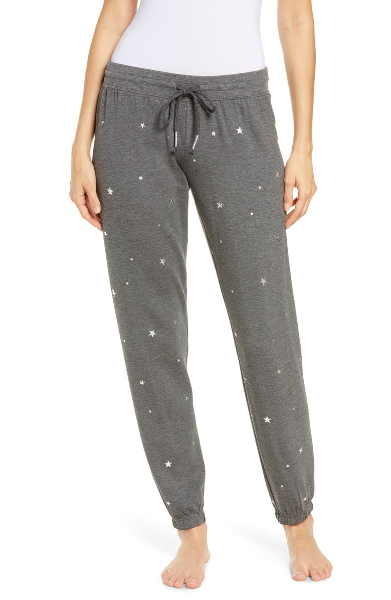 PJ SALVAGE Shining Star Joggers, Main, color, HEATHER CHARCOAL