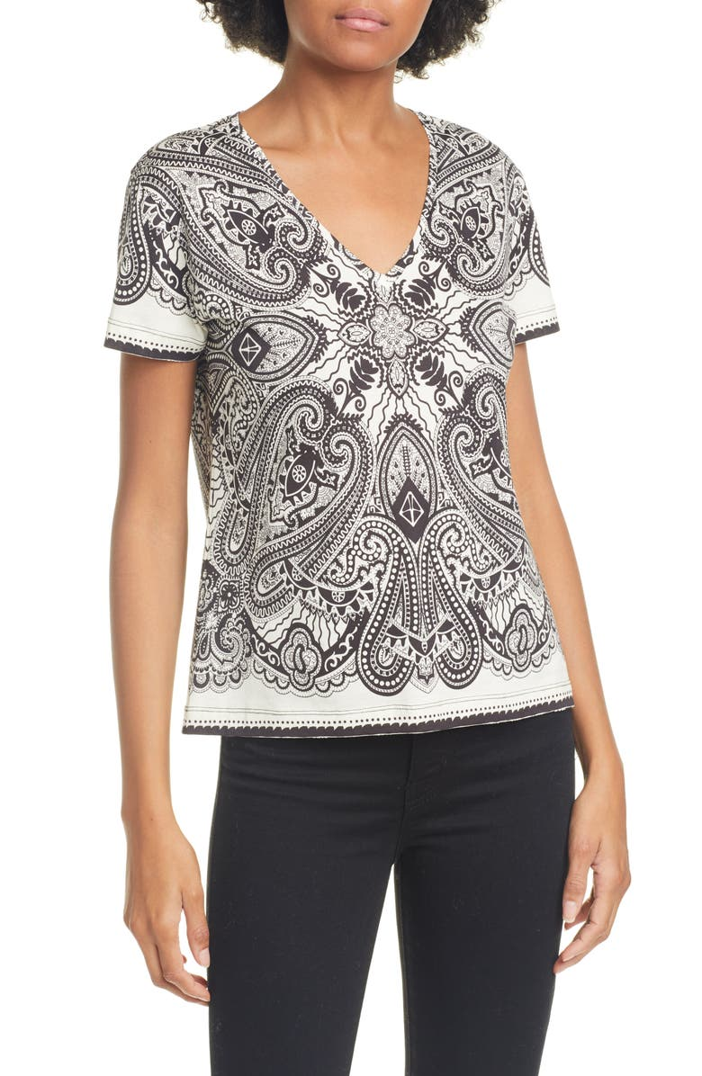 ETRO Graphic Paisley Crop V-Neck Cotton Tee, Main, color, 100